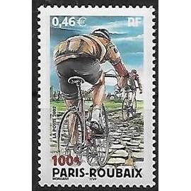 france 2002, très bel exemplaire neuf** luxe yvert 3481, 100ème course cycliste paris roubaix, coureur sur les pavés du nord.