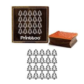 printtoo carré de motif de sapin artisanat carte de journal de blocs de timbre en caoutchouc 5 x 5 pouces en bois