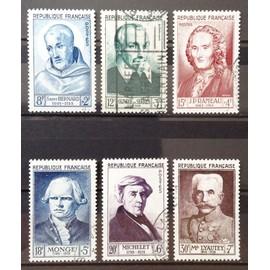 Série Personnages 1953 - N° 945 Saint Bernard + 946 Olivier de Serres + 947 Rameau + 948 Monge + 949 Michelet + 950 Lyautey Obl - Cote 70,00€ - France Année 1953 - N21224