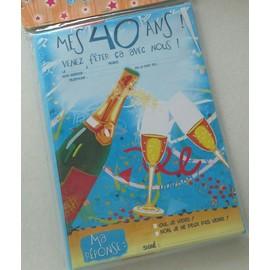 12 Invitations Anniversaire Cartes Cartons Adulte 40 Ans Champagne Confetti Avec Enveloppes Humour