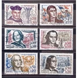 Série Personnages 1370 Amyot + 1371 Mehul + 1372 Marivaux + 1373 Vauquelin + 1374 Daviel + 1375 Vigny Obl - Cote 9,00€ - France Année 1963 - N21438