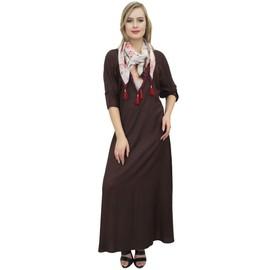 2e5ed45a19a34 Robe Maxi Longue Brune Femmes Bimba Avec Des Robes Boho Design Écharpe  Pompon