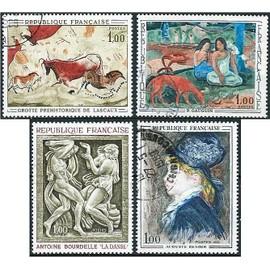 france 1968, série artistique, beaux exemplaires yvert 1555 grottes de lascaux et 1568 1569 1570 oeuvres de gauguin, bourdelle et renoir, obli. TBE