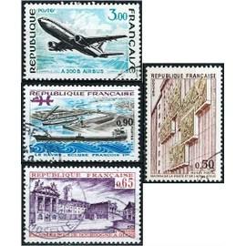 france, joli lot 1973, beaux exemplaires yvert 1751 airbus A300B, 1757 palais des ducs de bourgogne dijon, 1772 écluse françois 1er le havre et 1782 musée postal paris, obli. TBE