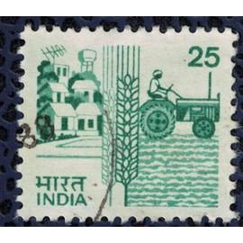 Inde 1985 Oblitéré Used Agriculture Village Blé et Tracteur