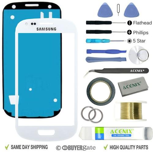 Samsung Galaxy S3 MINI I8190 Kit de réparation de remplacement pour écran avant en verre blanc