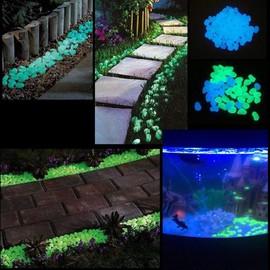 200 Pcs / Set Pierres De Cailloux Lumineux Brillent Dans Lornement De Jardin Sombre Pour Aquarium De Passerelle (Bleu+Vert)