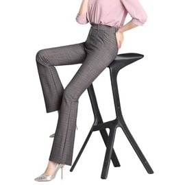 Pantalon Femme À Carreaux Taille Haute Slim Fit Pantalon  Vasée Amincissant  En Tissu Légère 398a5e019a5