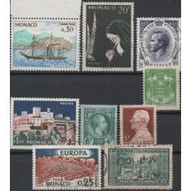 MONACO: Lot de 9 timbres N° 124,155,301,303,499,545,550,571,et taxe N° 60A.