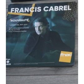 plv souple 30x30cm FRANCIS CABREL l'essentiel 1977-2017 /// magasins FNAC
