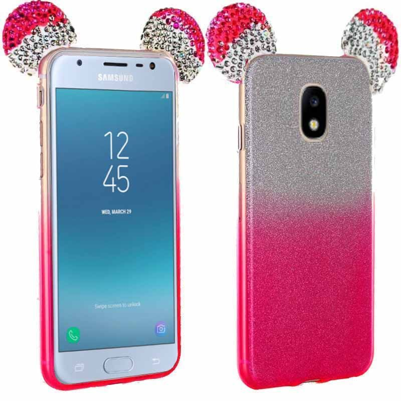 Coque Strass Paillettes Oreilles Mickey Rose pour Samsung Galaxy J3 (2017)