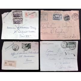 Lot de 4 enveloppes Algérie Recommandé et poste aérienne années 50