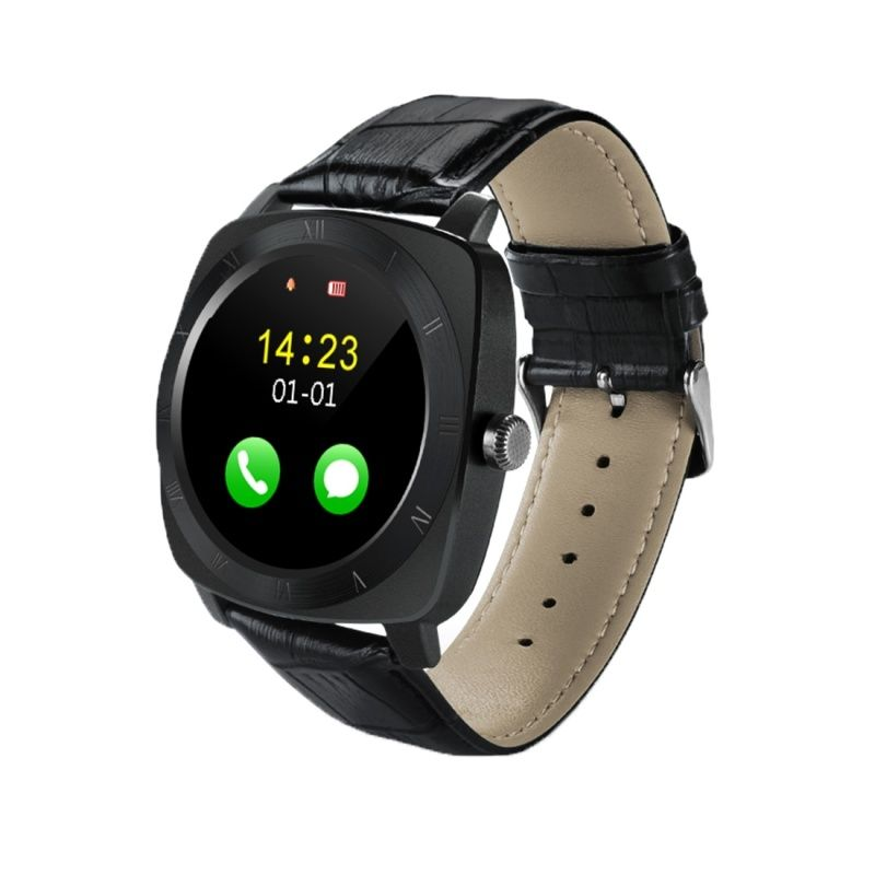 (#117) 1.33 Inch Full Ips Round Touch Screen Bluetooth Smart Watch Phone With Sim Card Slot For Android Smartphones(Black)