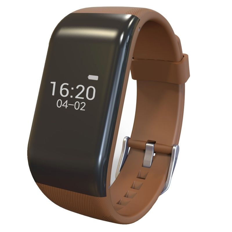 (#117) Bluetooth Smart Bracelet For Ios / Android Smart Phone, Heart Rate / Anti-Lost / Activity Tracker (Coffee)