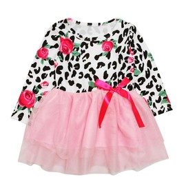 c518540fc63f4 1-5 Ans Bébé Enfant Fille Robe À Fleurs Manche Longue Tutu Rose Robe De