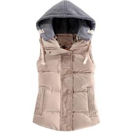 Fashion Courte Doudoune Sans Manches Femme Rembourré De Coton   Capuche  Gilet Femme De Hiver 5aeb2d4f0094