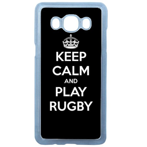 Coque pour smartphone - Keep calm and play rugby - compatible avec samsung Galaxy J3 (2016) - Plastique - bord Transparent