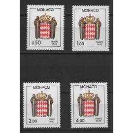 Monaco, timbres-poste de taxe Y & T n° 83 à 86 écusson stylisé, 1985