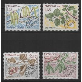 Monaco, timbres-poste préoblitérés Y & T n° 90 à 93 les quatre saisons du noisetier, 1986