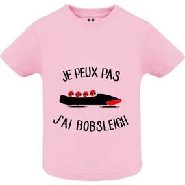 2ebf723dd928e T-Shirt Premium - Je Peux Pas J Ai Bobsleigh - Bébé Fille - Rose