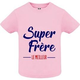 dede8598f5d7c T-Shirt Premium - Super Frere - Bébé Fille - Rose - 10 Ans