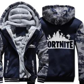 Fortnite Vêtements Pull Cardigan Zipper Blouson Adult Sweat-shirt Chaud Doublee Polaire Homme A Capuche