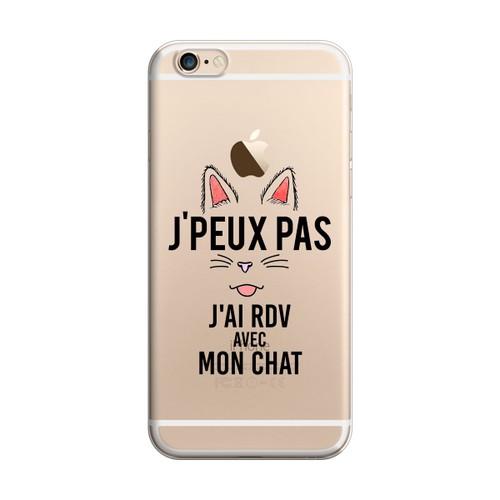 Coque iPhone 6/6S J Ai Rdv Avec Mon Chat, je peux pas. Coque fabriquée en France