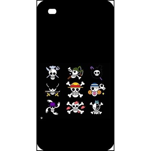 Coque pour smartphone - One piece logo fond noir - compatible avec apple iPhone 4s - Plastique - bord Noir