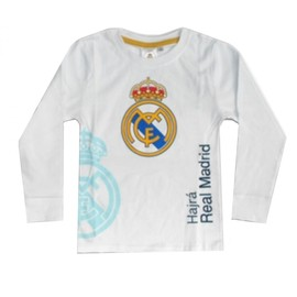 9412dc8e41868 Tee Shirt Manches Longues Real Madrid Enfant Blanc Taille 3 À 7 Ans