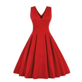ae4e04e200549 Femmes Robe V Profond Robe Vintage Cou Party Manches Robe De Bal Swing   Rouge
