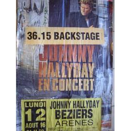 JOHNNY HALLYDAY AFFICHE CONCERT BEZIERS 96
