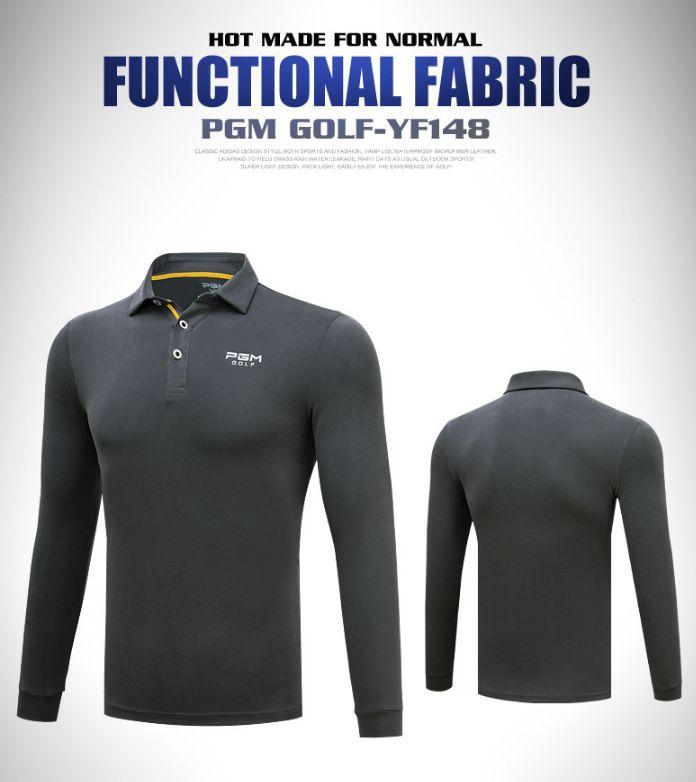 PGM Golf Polo à Manches Longues pour Hommes Sport T - Shirt Slim Fit Tops Printemps, Automne et Hiver