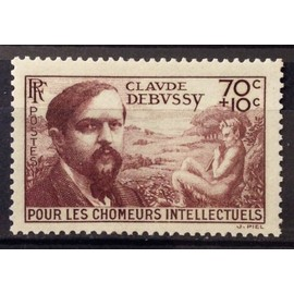 Chômeurs Intellectuels Debussy 70c+10c brun (Superbe n° 437) Neuf* - Cote 4,60€ - France Année 1939 - N23476
