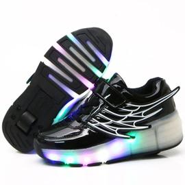 b9ec354981597 Eleyooner Led Baskets À Roulettes Aile Lumineuse Skate Chaussures Etanche  Led Chaussures À Roulettes Fille Garçon