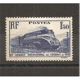 340 (1937) Congrès des Chemins de Fer Neuf sans Gomme NSG (cote 8,5e) (6232)