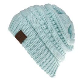 f0a2623a5a5 Bonnet Tricoté Femme Chaud Automne Hiver Pour Queue De Cheval Couleur Unie