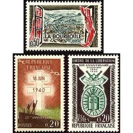 france 1960, joli lot neuf** luxe yvert 1256 station thermale la bourboule, 1264 appel du général de gaulle 18 juin 1940 et 1272 20ème anniversaire de l