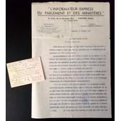 1937 Lettre Et Carte De Visite Signee Hippolyte Hamard Courrier Du Parlement