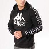 4d8c387f336b Kappa - Sweat Capuche Bandes Brodées Authentic Hurtado Noir Blanc