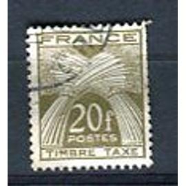 Timbre Oblitéré - Taxe - Type Gerbes De Blé - 20 F - Gandon / Cortot - 1947