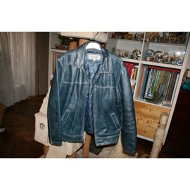 azul Wilson Leather de MJul cuero Chaqueta Vintage j4RA5L