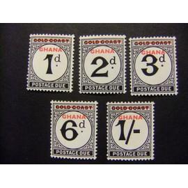 GHANA 1958 Timbres de Cotê de l` Or 1923-1952 avec surcharge Yvert tax 1 / 5 ** MNH