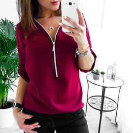 Zip Neck T Shirt Womens Short Sleeve V Collar Pure Color Chiffon Blouse Female Summer Outdoor Tops