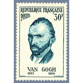 france 1956, célébrités étrangères ayant vécu en france, bel exemplaire yvert 1087, van gogh, artiste peintre, neuf*