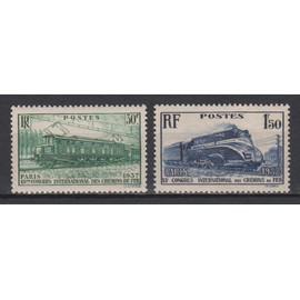 france, 1937, 13è congrès international des chemins de fer à paris, n°339 + 340, neufs.