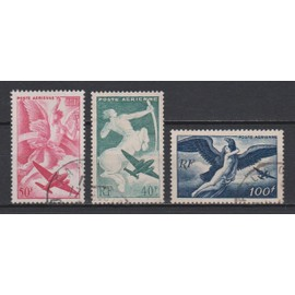france, 1946-1947, poste aérienne, série mythologique, n°16 à 18, oblitérés.