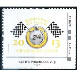 france 2013, très bel exemplaire auto-adhésif neuf** luxe lettre prioritaire, issu du collector yvert 247, 24H du mans, virage de mulsanne, bienvenue sur la piste.