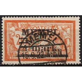 """lituanie, enclave de memel sous administration française 1920, bel exemplaire yvert 31, type merson 2f. orange et vert bleu surchargé """"memel 4 mark"""", oblitéré, TBE"""
