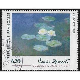 """Timbre N°3247 Y & T 6,70 F multicolore série artistique claude monet """"nymphéas effet du soir"""""""