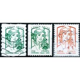 france 2013, joli lot 3 valeurs Marianne de Ciappa et Kawena, yvert AA 858 lettre verte auto-adhésif, 4774 lettre verte 20g., 4770, 1€ rouge orange, oblitérés, TBE
